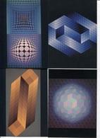 CPM - Victor VASARELY - Ensemble De 4 Vues Différentes - Edition Du Griffon - Peintures & Tableaux