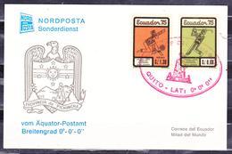 ECUADOR 1975 CARD COVER PICHINCHA SHIELD GOLF & TENNIS STAMPS MONUMENT TO THE HALF OF THE WORLD POSTMARK - Ecuador