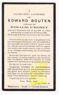 DP Edward Bouten ° Wijtschate Heuvelland 1847 † 1933 X Rosalie D'Hondt - Images Religieuses