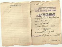 """2883 """"GOVERNO DELL'ERITREA-LASCIAPASSARE PER L'ITALIA E RITORNO IN ERITREA-1940-SIG. RIGANO ANTONINO """" DOCUMENTO ORIG. - Documenti"""