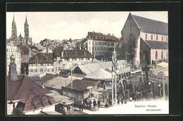AK Basel, Baseler Messe, Barfüsserplatz - BS Bâle-Ville