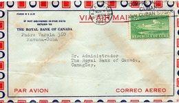 THE ROYAL BANK OF CANADA - REPUBLICA DE CUBA. CORREO AEREO POSTE EN 1947 - Airmail