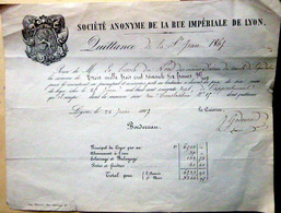 ACTIONS TITRES QUITTANCE DE LA SOCIETE ANONYME DE LA RUE IMPERIALE A LYON  1867 - Andere