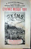 51 REIMS CATALOGUE MUSIQUE ETRENNES 1881 PARTITIONS PORTE MUSIQUE ETC BELLE GRAVURE - Musique & Instruments