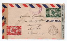 1944 - ENVELOPPE De NOUMEA (NOUVELLE CALEDONIE) Pour ANNONAY Avec CENSURE - FRANCE LIBRE - Nueva Caledonia