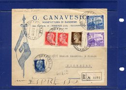 ##(DAN193)-ITALY-1940-Busta Intestata Manifattura Di Bandiere Canavesio-Firenze, Raccomandata Espresso Per Livorno - Storia Postale