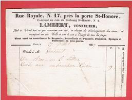 FACTURE 1839 LAMBERT TONNELIER RUE ROYALE N° 17 PRES LA PORTE SAINT HONORE A PARIS CAVE VIN BROSSERIE VANNERIE EPONGE - Petits Métiers