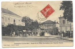 47-CASTELJALOUX-Angle De La Place Gambetta Et Avenue Carcin...1909 Course De Voitures... Animé (léger Défaut) - Casteljaloux