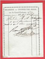 FACTURE 1805 BRASSERIE DE GROSSOEUVRE BELTE RUE DU GRAND FAUBOURG N° 151 A CHARTRES EURE ET LOIR - France