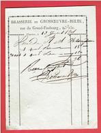 FACTURE 1805 BRASSERIE DE GROSSOEUVRE BELTE RUE DU GRAND FAUBOURG N° 151 A CHARTRES EURE ET LOIR - 1800 – 1899