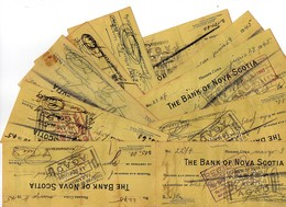 """10 CHEQUES DE """" THE BANK OF NOVA SCOTIA """" EMIS A HABANA CUBA. EN 1945 - Cheques & Traveler's Cheques"""