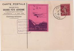 CPA Meeting Aviation Pontarlier 1934 Et Vignette - Meetings