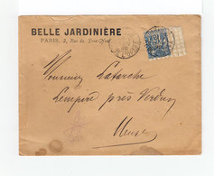 Sur Enveloppe Belle Jardinière Type Sage 15 C. Bleu CAD Paris Av. De L'Opéra 1892. (1174x) - Postmark Collection (Covers)