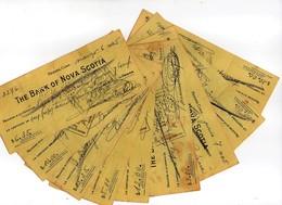 """9 CHEQUES DE """" THE BANK OF NOVA SCOTIA """" EMIS A HABANA CUBA. EN 1945 - Chèques & Chèques De Voyage"""