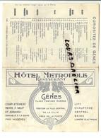Carte Visite HOTEL METROPOLE GENES  Place FONTANE MAROSE Avec Plan Et Liste De Curiosités à Visiter - Publicités