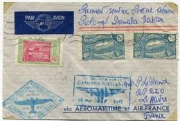 !!! 1ER COURRIER AERIEN CAMEROUN - FRANCE 1937, 1ER VOYAGE CONGO - SENEGAL - FRANCE - Cameroun (1915-1959)
