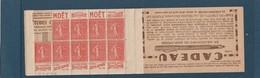 Carnet 199 - C 72 Série 254 Non Complet 9 Timbres Sans Charniéres TTB Publicité Moet Benjamin - Usage Courant