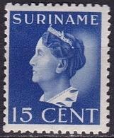 Suriname 1941 Koningin Wilhelmina 15 Cent Ultramarijn NVPH 194 Ongestempeld - Suriname ... - 1975