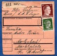 Colis Postal -  Départ Duss  -  23/1/1943   - Abimé - Allemagne