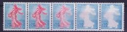 France : Yvert  1233  Bande De 5  2x Sans Rouge, MNH/** 1954 - Abarten: 1960-69 Ungebraucht
