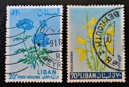 FLEURS1964 - OBLITERES - YT PA 298 + 302 - MI 858 + 862 - Liban