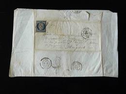 LETTRE DE ROUEN POUR ANGERS  -  1851  -   25 C REPUBLIQUE NON DENTELE - - Storia Postale