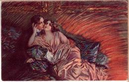 Artist Signed Italian Art Deco Couple PC 1920s - Illustrateurs & Photographes
