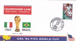 USA Cover 1994 World Cup Football FIFA In USA - Italy Vs Brazil In Pasadena   (C111A) - Fußball-Weltmeisterschaft