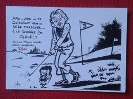 POSTAL POST CARD CARTE POSTALE MAGGIE MARGARET TATCHER POLITIC POLITICAL SATIRE GUERRE DU GOLF WAR GULF WAR SADAM HUSEIN - Sátiras