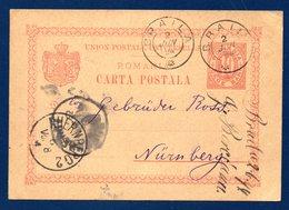 Roumanie. Entier De 1893. P26. 10 Bani Rouge. Braila- Nürnberg Juin 1894 - Postal Stationery