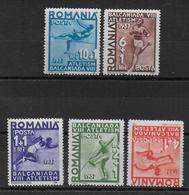 ROUMANIE - 1937 - YVERT N° 525/529 ** MNH - COTE = 22 EUR. - SPORTS - Unused Stamps