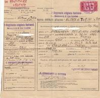 9250-MARCA REGIO ESERCITO-BIGLIETTO D'ENTRATA OSPEDALE MILITARE-REGG. ART. CONTRAEREI-DISTACC. TRINO VERCELLESE - 1900-44 Victor Emmanuel III.