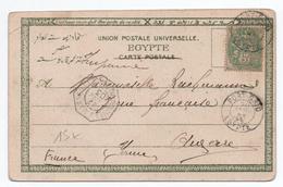 """1903 - CP De PORT SAID (EGYPTE) Avec CACHET DE PAQUEBOT """"NOUMEA A MARSEILLE"""" - BUREAU FRANCAIS A L'ETRANGER BFE - 1877-1920: Periodo Semi Moderno"""