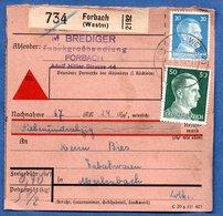Colis Postal -  Départ Forbach --  12/6/1943 - Duitsland