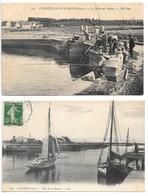 2 Cpa...Courseulles-sur-mer..(calvados)...la Peche Aux Mulets....animée..//.. Vue Sur Le Bassin..animée... - Courseulles-sur-Mer