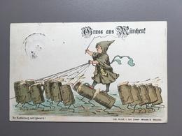 MUNCHEN - Bier - Brauerei - Bierkrugen - 1889 - Gruss Aus - Muenchen