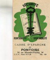 CALENDRIE(1954) CAISSE D EPARGNE(PONTOISE) - Calendriers