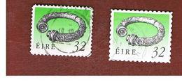 IRLANDA (IRELAND) - SG 823.823a - 1991 IRISH HERITAGE: BROIGHTER COLLAR (2 SELF-ADHESIVE, DIFFERENT PERFORATIONS) - USED - 1949-... Repubblica D'Irlanda