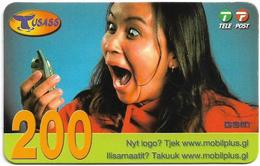 Greenland - Tusass - Girl With Mobile, GSM Refill, 200kr. Exp. 21.04.2007, Used - Greenland