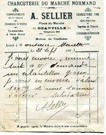 Deauville'14): Facturette Charcuterie Du Marché Normand A Sellier 1923 - Alimentaire