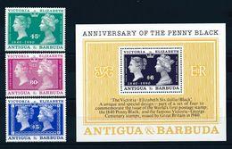 ANTIGUA & BARBUDA, 1990 150th Anniversary Of The Penny Black 3v + S/s  MNH - Filatelia & Monedas