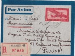Façade De Lettre Recommandée Indochine à France - Cachet Hanoï Tonkin 1937 - Par Avion - Covers & Documents