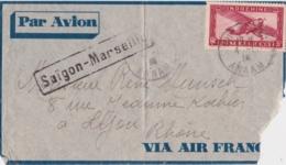 Lettre Indochine à France - (Saïgon - Marseille) Cachet Nha Trang, Annam 1936 - Par Avion, Via Air France - Covers & Documents