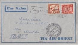 Lettre Indochine à France - (Saïgon - Marseille) Cachet Saïgon Central 1933 - Par Avion, Via Air Orient - Covers & Documents