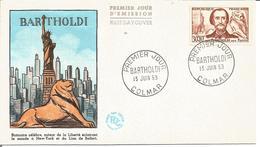 Bartholdi 13 Juin 1959 Enveloppe 1er Jour Colmar Lion De Belfort - FDC
