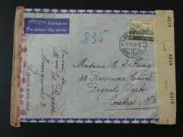 Lettre Recommandée Registered Cover Par Avion Poste Aérienne Censurée Censure Censored Suisse Pour Londres 1943 - Covers & Documents