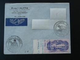 Lettre Avec Vignette Berck Du 50F Burelé Poste Aérienne Journée Du Timbre Le Vesinet 78 Yvelines 1946 - Aviation