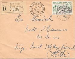 Lettre Recommandée Castelnau D'estrétéfonds 31 Haute Garonne 1954 - Marcophilie (Lettres)