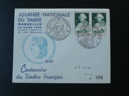 Lettre FDC Centenaire Du Timbre Français Journée Du Timre Marseille 1949 - FDC