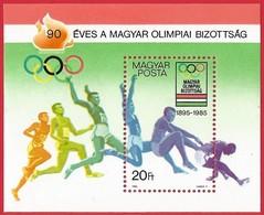 Hungria. Hungary. 1985. Mi 3732 Block 175. Hungarian Olympic Committee, 90th Anniv. - Hungría